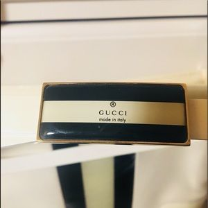 Gucci Belt White Leather Black and White Buckle